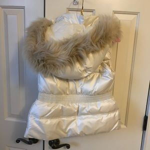 Juicy Couture pearl white faux fur vest
